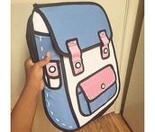 bag,blue,pink,white,backpack,cartoon backpack,cartoon
