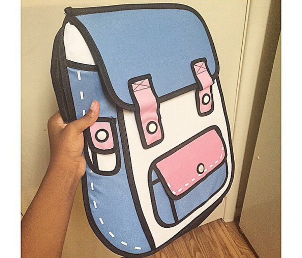 bag blue pink white backpack cartoon backpack cartoon
