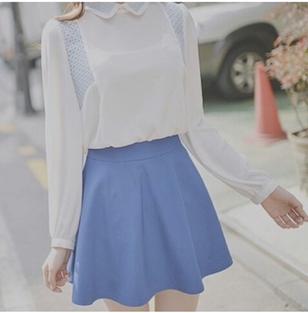 blouse cute lovely asian korean fashion white blue