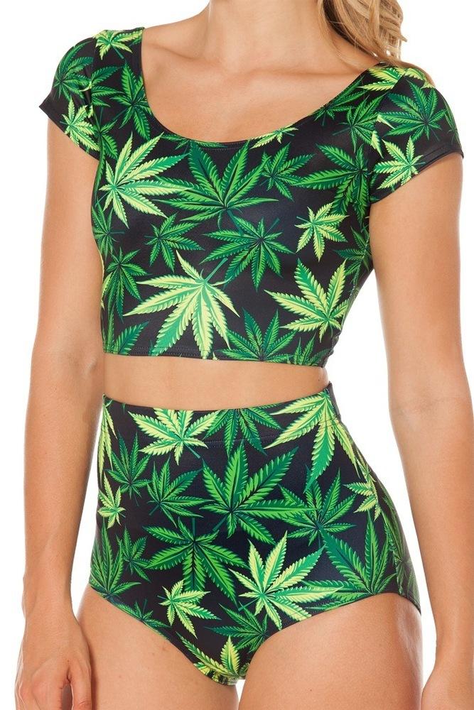 Cute green leaves short and top bikini