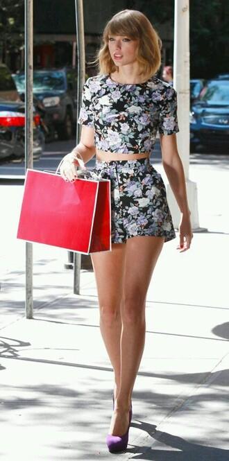 shorts dress taylor swift floral summer two piece dress set