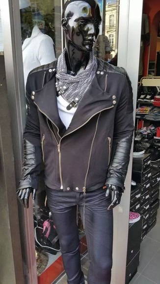 jacket zip noire bi mati?re simili cuir