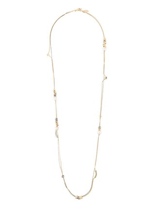 long necklace long pearl necklace silver metallic jewels