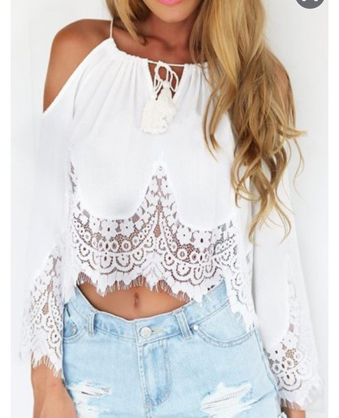 White Cute Blouse - Long Blouse With Pants
