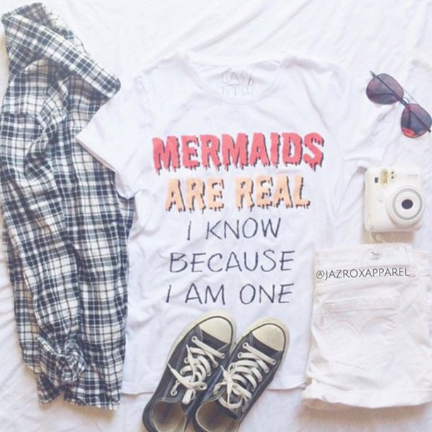 T Shirt Jazrox Hipster Style Mermaids Are Real Mermaid Girly Quote On It Grunge Neon Sexy Cute Tumblr Girl Dope Summer Pretty Trendy