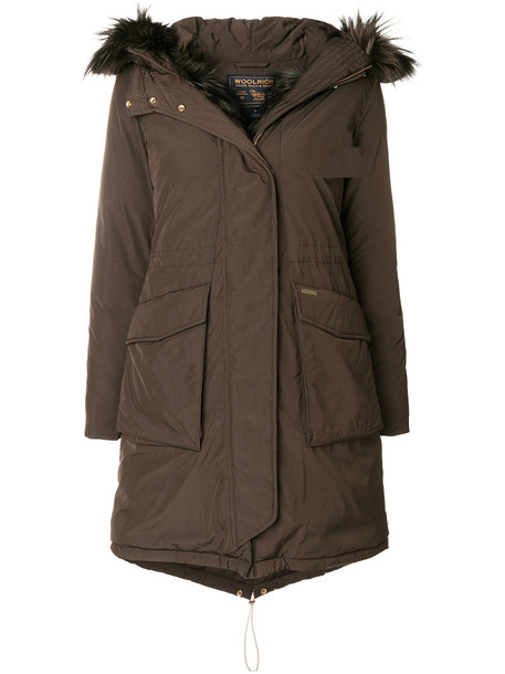 Woolrich coat parka fur fox women brown