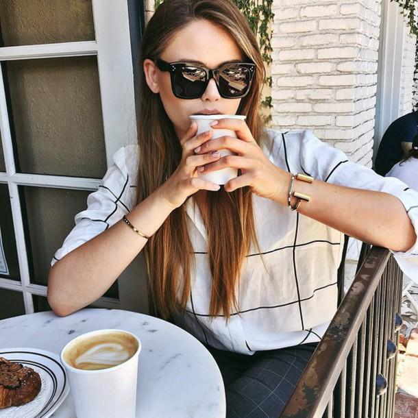 sunglasses black sunglasses tumblr celine celine sunglasses white top checkered pants checkered shirt checkered bracelets gold bracelet grey pants kayture kristina bazan