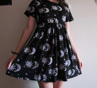 dress black white sun moon dark night sky