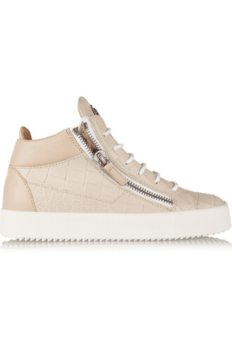 high sneakers leather beige shoes
