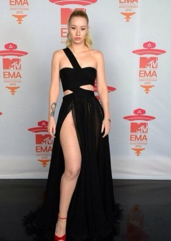 dress black cut cut-out mtv vma iggy azalea azalea iggy azalea celebrity blonde hair girl slit dress black dress wrap black prom dress prom dress designer