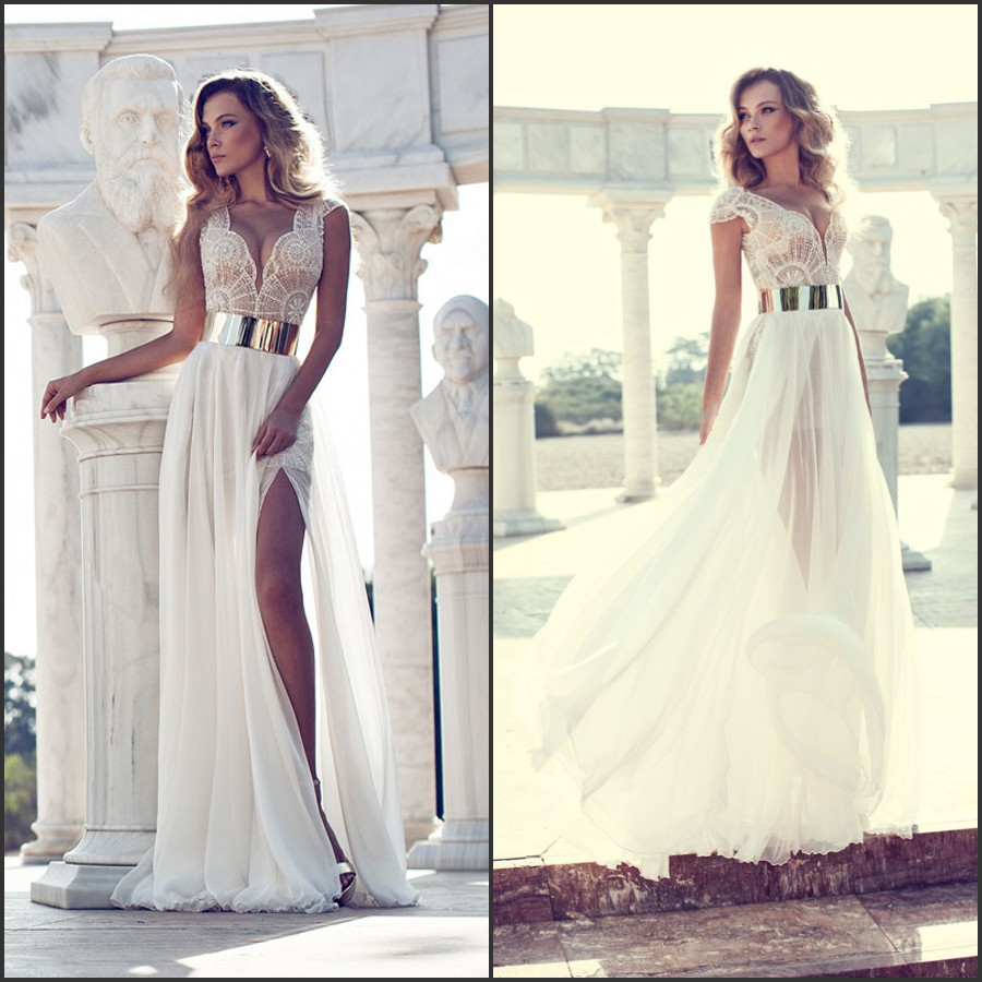Aliexpress.com : Buy Unique A line V neck Cap Sleeve Beading Patterns Sexy See Through High Slit Flowing Chiffon Wedding Dress 2014 New Arrival from Reliable wedding dresses suits suppliers on 27 Dress
