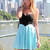Multi Strapless Dress - Blue & Black Strapless Flowy | UsTrendy