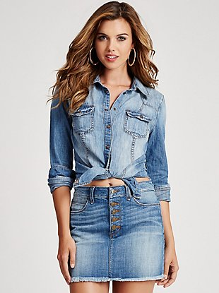 Slim-Fit Denim Shirt in Fiddle Wash at Guess