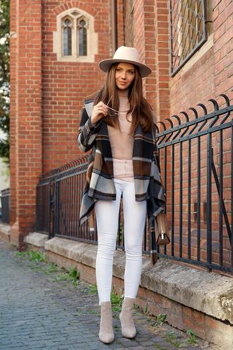 coat hat tumblr plaid plaid coat felt hat denim jeans white jeans top nude top boots nude boots ankle boots