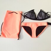 swimwear,neon swimsuit,orange swimwear,orange,mesh,two-piece