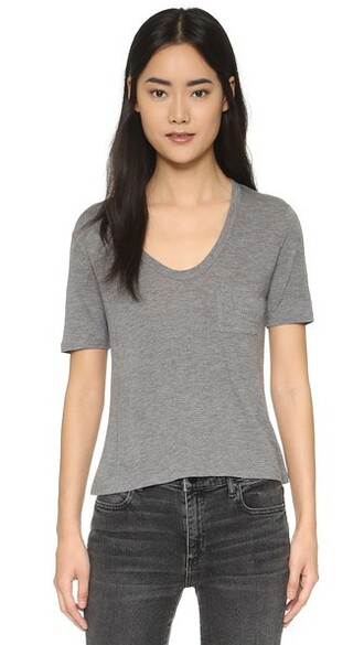 cropped tee cropped classic grey heather grey top