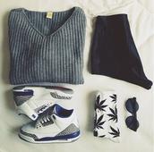 sweater,marijuana,cotton,jordans,black,white,belt,shoes,shorts,sunglasses