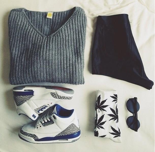 sweater marijuana cotton jordans black white belt shoes shorts sunglasses