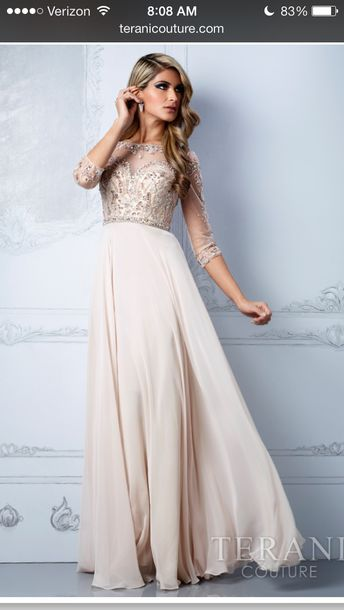 Dress: terani couture- inspired- long prom dress- cream color- see ...
