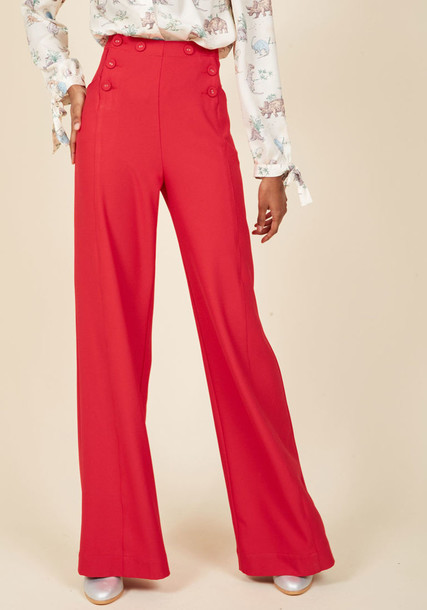 MCB1169 vintage style high red pants