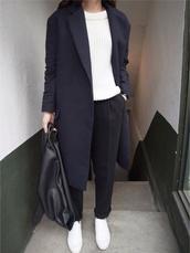coat,boyfriend coat,navy,navy coat,navy boyfriend coat,blazer,long blazer,pants,minimalist,pleated,tapered