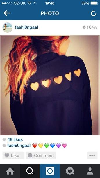 blouse fashion black t-shirt heartshape love gorgeous smart casual