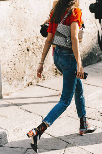 shoes tumblr printed boots boots mid heel boots thick heel denim jeans blue jeans cropped jeans top orange top bag gucci gucci bag dionysus floral boots floral shoes french girl style thick heel boots ankle boots orange