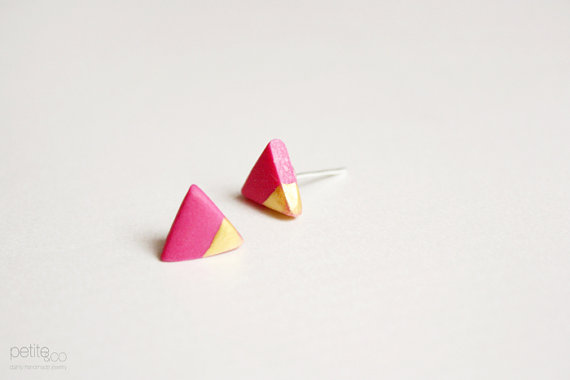gold dipped triangle studs  pink and gold  minimalist by PetiteCo