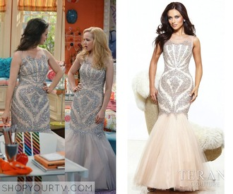 dress sparkly nice cream beige tv teen girl party outfits liv and maddie disney channel evening dress prom dress special occasion dress