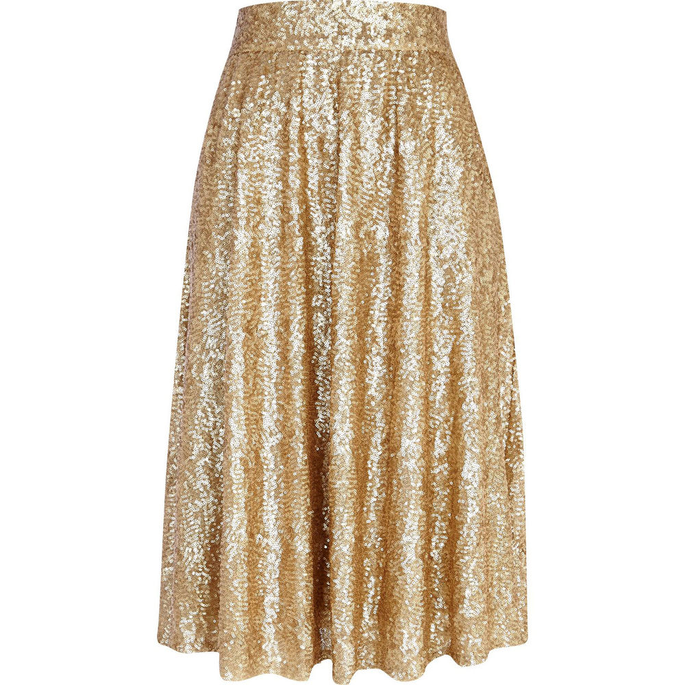 River Island Gold Sequin A Line MIDI Swing Skirt 8 US 4 EUR 34 BNWT | eBay