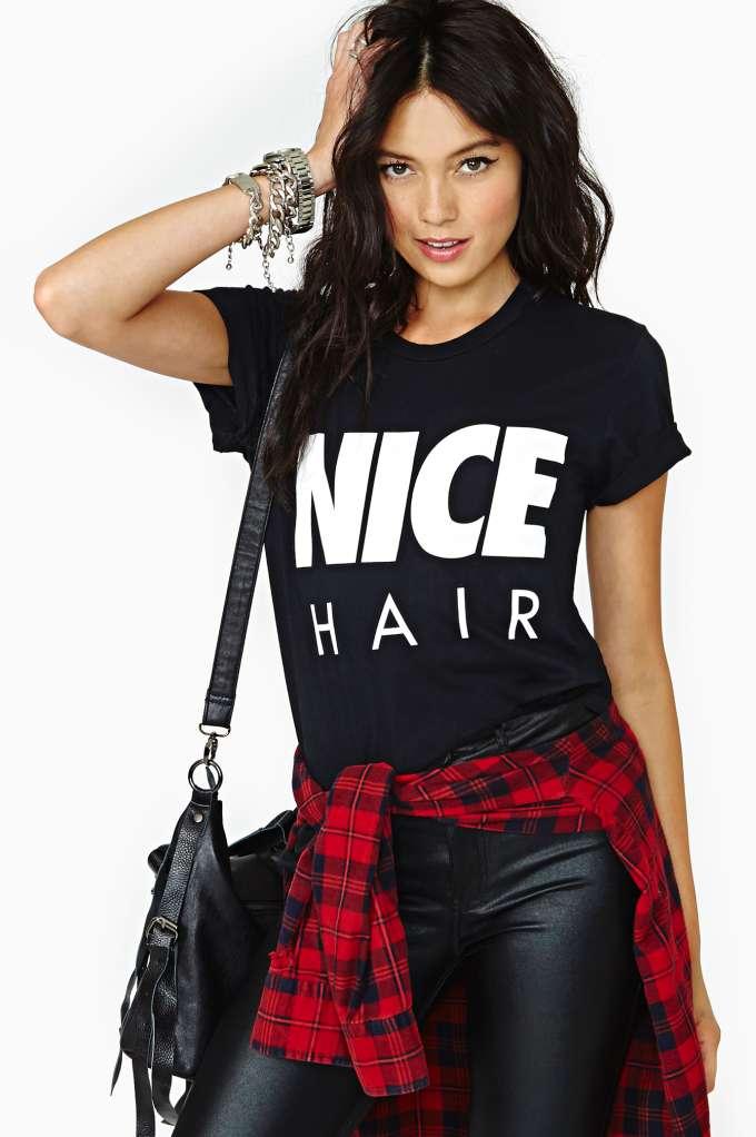Alex & Chloe Nice Hair Tee - Black in  What's New at Nasty Gal