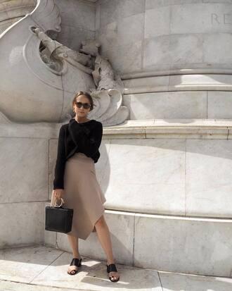 skirt tumblr asymmetrical asymmetrical skirt nude skirt midi skirt shoes mules sandals bag black bag sweater black sweater sunglasses