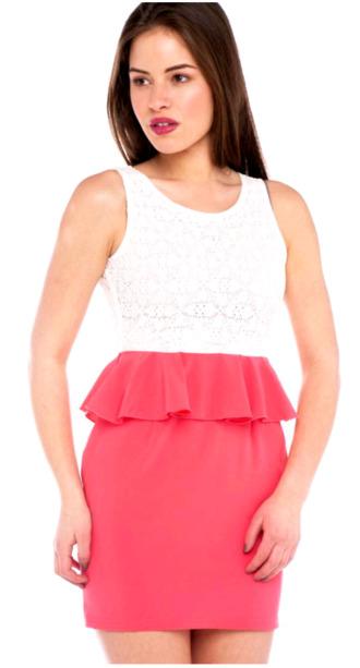 dress pink dress peplum dress white lace pink white