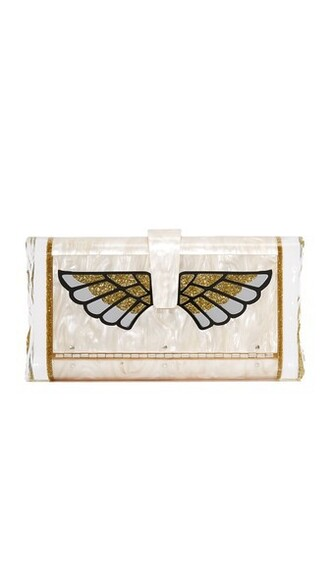 wings clutch nude bag
