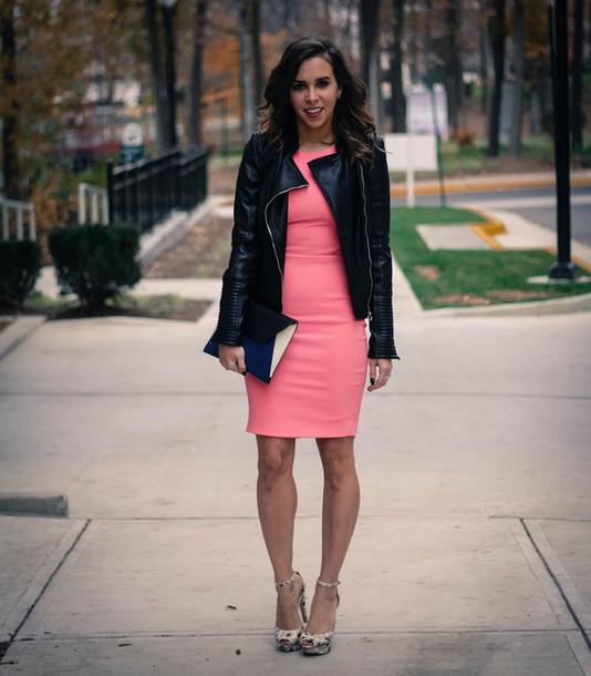 Oh Va Darling  Blogger  Pink Dress  Leather Jacket  Pumps