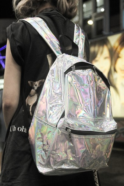 Bag: holographic, tumblr, backpack, back to school, love, grunge ...
