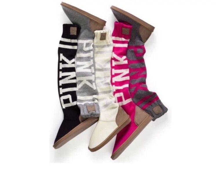Victoria secret pink white glitter silver boots mukluk slippers medium m 7