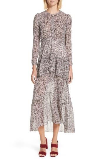 A.L.C. Zandra Leopard Print Silk Midi Dress | Nordstrom