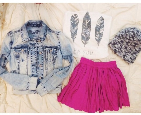 shirt hot pink skirt white crop tops denim jacket
