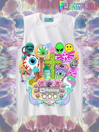 tank top kawaii dope colorful yin yang cool alien rainbow weed trippy