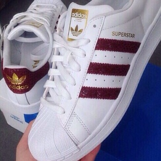 shoes adidas superstars adidas white sneakers burgundy