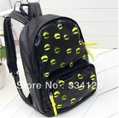 bag,lips,black,yellow,bookbag,backpack,back to school,trendy,cute