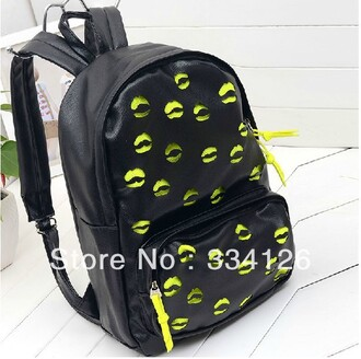 bag lips black yellow bookbag backpack back to school trendy cute