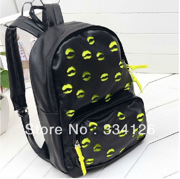 bag lips black yellow bookbag backpack back to school trendy cute