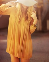 dress,pleated,orange,mini dress
