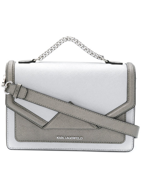 karl lagerfeld women bag shoulder bag leather grey metallic