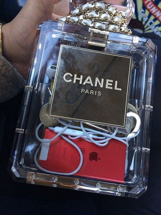 bag chanel transparent chanel transparent dope tumblr purse clear cool miley cyrus gold hipster grunge indie