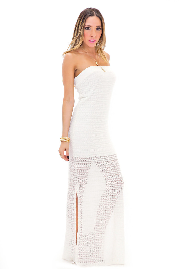 Meadow strapless crochet maxi dress | haute & rebellious