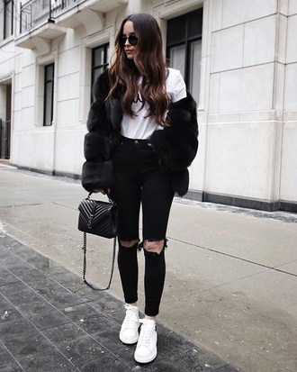 jacket black jacket black fur jacket fur jacket white t-shirt t-shirt jeans black jeans ripped jeans white sneakers sneakers