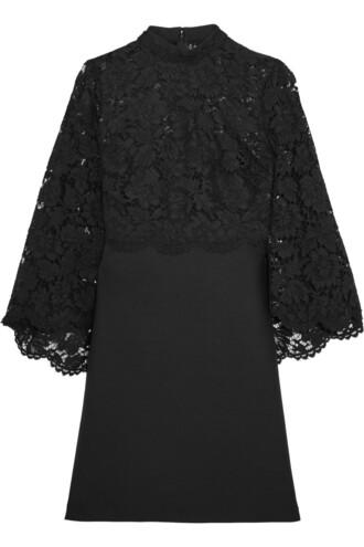 dress mini dress mini back lace silk wool black